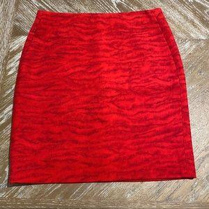 Akris red wool skirt with zebra print